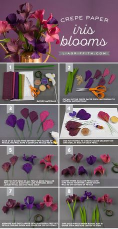 paper flower wall decor, photo collage of step by step diy tutorial, how to make iris blooms out of crepe paper # crepe paper flowers diy tutorials ▷ ideas for DIY paper flowers to decorate with Paper Flowers Craft, Paper Flower Wall, Giant Paper Flowers, Paper Roses, Felt Flowers, Flower Crafts, Diy Flowers, Fabric Flowers, Paper Garlands