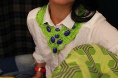 Big light green with violet beads crochet necklace by KvitkaShop