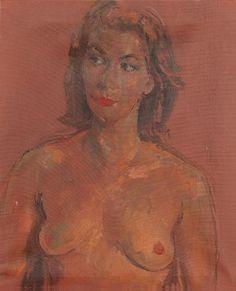 Augustus Edwin John - Portrait of a nude with auburn hair
