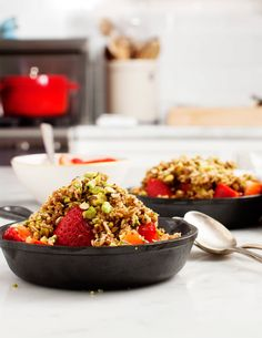 Strawberry Pistachio Crumble - A yummy, easy summer fruit crumble. Vegan, gluten free & refined sugar free.