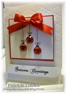 Mis Ideas & Creaciones by Patty Chalas: SP & CO November Stamps Release! - material list onlyChristmas ornament bling card - bjl by rubyChristmas ornament bling card - would be cute using jingle bellsI like the tiny ornaments paired with the big bow. Homemade Christmas Cards, Christmas Cards To Make, Christmas Greetings, Homemade Cards, Handmade Christmas, Holiday Cards, Christmas Diy, Embossed Christmas Cards, Merry Christmas