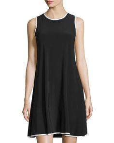 Solid+Jersey+Trapeze+Dress,+Black/White+by+Neiman+Marcus+at+Neiman+Marcus+Last+Call.