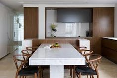 Marble Dining Table Design Ideas, Pictures, Remodel and Decor Kitchen Marble, Marble Top Dining Table, Hidden Kitchen, Minimalist Dining Room, Kitchen Island And Table Combo, Contemporary Kitchen, Dining Table, Kitchen Island Dining Table, Dining Table Marble