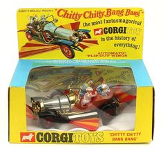 Vintage Toys Chitty Chitty Bang Bang Corgi Toys ultra scarce with the GOLD BONNET BAND and in a SMALLER BOX (more commonly found with a chrome band immediately below the windscreen) 1960s Toys, Retro Toys, Vintage Toys, Childhood Toys, Childhood Memories, Old School Toys, Corgi Toys, Buy Toys, Kids Tv