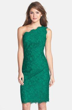 Tadashi Shoji One-Shoulder Lace Sheath Dress available at #Nordstrom ~ NEED!
