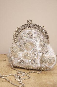 vintage silver and diamond purse