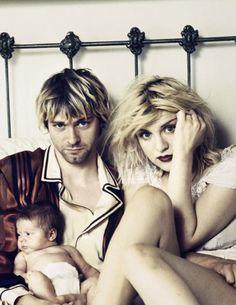 Kurt Cobain, Courtney Love, and Frances Bean Cobain Courtney Love Hole, Kurt And Courtney, Frances Bean Cobain, Nirvana Kurt Cobain, Nirvana Band, Rock Music, My Music, Kurt Corbain, Club 27