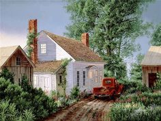 """""""Home Before Dark"""" Artist, Fred Swan © Arte Country, Country Barns, Old Barns, Country Life, Country Living, Swan Painting, Country Scenes, Pictures To Paint, Artist Art"""