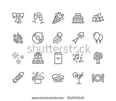 7ec54b5a5 Simple Set of Party Related Vector Line Icons. Contains such Icons as  Bouquet of Flowers, Karaoke, Dj, Masquerade and more. Editable Stroke.