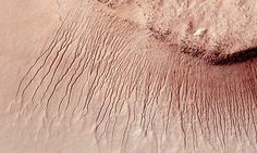 Portions of the Martian surface are pictured from NASA& Mars Reconnaissance Orbiter: Portions of the Martian surface showing many channels from 1 meter to 10 meters wide on a scarp in the Hellas impact basin. Sistema Solar, Water On Mars, Red Planet, Mars Planet, Alien Planet, Life On Mars, University Of Arizona, Space Photos, Space Exploration