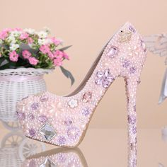 Free shipping, $64.93/Pair:buy wholesale 2014 new fashion pink flower Pearl Bridal wedding dress shoes crystal diamond 12cm/14cm sexy high heels Women Pumps from DHgate.com,get worldwide delivery and buyer protection service.