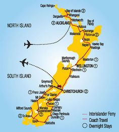 This map shows our tour Itinerary but in reverse. We flew to Christchurch and then traveled over to Mt., Cook, south to Queenstown & Te Anau & then north to Picton, Rotorua & finally Auckland.