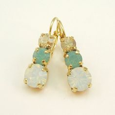 Tripplestone drop earrings made with Swarovski by TIMATIBO on Etsy, $24.00