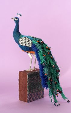 *NEEDLE FELT ART ~ felt peacock