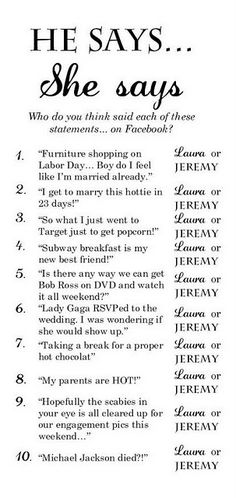 bridal shower game! this looks funny.