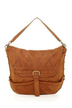 Leather tribal print satchel bag