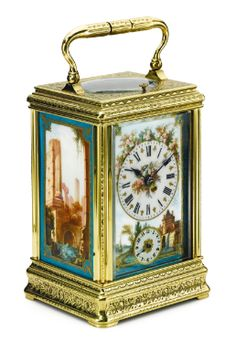 DROUCOURT RETAILED BY HENRY CAPT GENEVE: A GILT BRASS AND SEVRES STYLE PORCELAIN HOUR STRIKING CARRIAGE CLOCK WITH ALARM LATE 19TH CENTURY