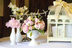 birdcage for letters? Vintage Wedding Centerpieces, Pink Wedding Decorations, Wedding Table Flowers, Diy Centerpieces, Charcoal Wedding, Bridal Shower Tables, Floral Event Design, Milk Glass, Flower Designs