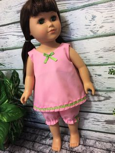 "18"" Doll Clothes, Pink Baby Doll pajamas, American made girl doll clothes, handmade doll clothes, girl birthday gift, girl christmas gift - pinned by pin4etsy.com"