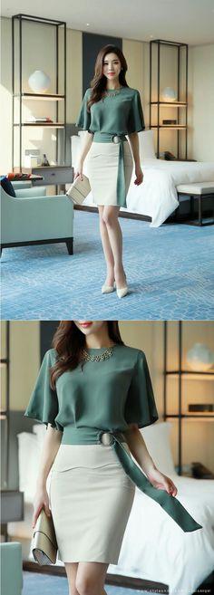 Romantic & Trendy Looks, Styleonme - Moldes Moda Trend Fashion, Work Fashion, Asian Fashion, Womens Fashion, Fashion Design, Komplette Outfits, Office Outfits, Skirt Outfits, Work Outfits
