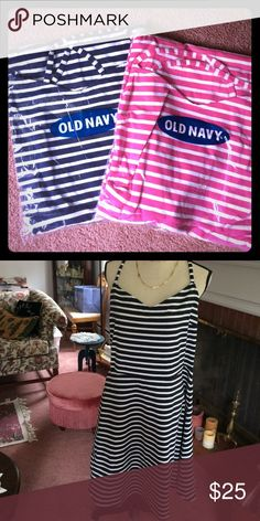 SALE: Old Navy Two dresses striped knit nwt XL Old navy striped dresses new in package. Picture of black dress is for reference only (listed separately) but these two look the same. Pink and navy stripes - cotton/poly stretch knit. If you want all 3, I can do 3 for 28! Old Navy Dresses Midi