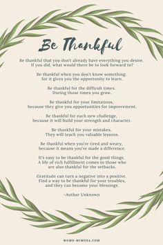Be Thankful - A Poem of Gratitude | Mom's Mimosa