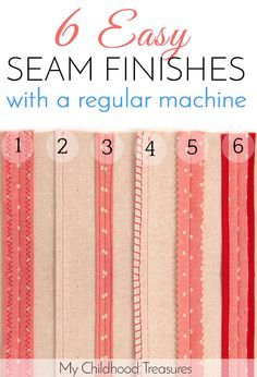 Sewing Techniques Couture How to finish seams without a serger - 6 EASY ways. - Neatly finishing your seams not only makes your sewing look professional but keeps the edges from fraying. Learn 6 ways seam finishes without a serger. Sewing Lessons, Sewing Class, Love Sewing, Sewing Basics, Sewing Hacks, Sewing Tutorials, Sewing Tips, Serger Sewing, Sewing Ideas