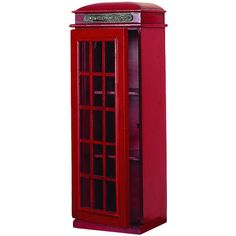British telephone booth-inspired cabinet with a latticed door and 2 shelves. Product: Telephone booth cabinet  Const...