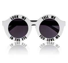 ea24fbd5c5fd White On A Promise Sunglasses by House of Holland . Round sunglasses with a  typography