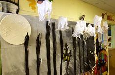 Halloween bulletin board , cheesecloth ghosts