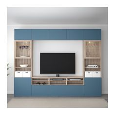 BESTÅ TV storage combination/glass doors - walnut effect light gray Valviken/dark blue clear glass, drawer runner, push-open - IKEA