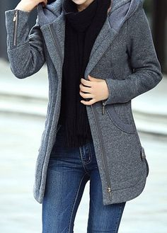 Long Sleeve Zipper Up Hooded Collar Grey Coat  b7d5ba4d3a5d