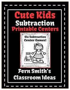 Subtraction Printable Center Games For 1.OA.6 and 2.OA.2 - Cute Kids at School #TPT $Paid