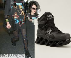 Frances Bean Cobain wears Marc By Marc Jacobs 'Ninja' Hi-Top Sneakers in the color Black while catching a flight out of LAX.