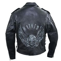 Special Offers - Xelement Premium Mens Black Leather Embossed Flying Skull Jacket  Large - In stock & Free Shipping. You can save more money! Check It (November 25 2016 at 01:26PM) >> http://motorcyclejacketusa.net/xelement-premium-mens-black-leather-embossed-flying-skull-jacket-large/