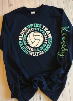 Multiple colors available. Please include name in message with purchase. If you would like a different color vinyl than teal and white, please include in your notes. All personalized items are non-returnable. Volleyball Setter, Volleyball Workouts, Volleyball Outfits, Volleyball Hairstyles, Volleyball Mom, Volleyball Quotes, Coaching Volleyball, Volleyball Pictures, Girls Basketball