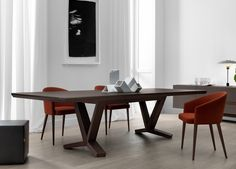 'Bridge' Rectangular table in wood. Top in wood or caffè frosted lacquered glass top. Finishing: tobacco oak.