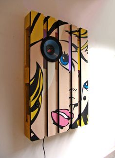 Bluetooth Stereo System on a Pallet As a Themed Decoration: 17 Steps (with Pictures) Pop Art Decor, Diy Wall Decor, Diy Home Decor, Decoration, Room Decor, Diy Pallet Projects, Wood Projects, Palette Diy, Old Pallets