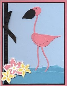 Flamingo Punch Art using Stampin Up 2 step bird punch