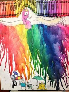 I don't normally like crayon art, but this Adventure Time one is clever Cartoon Network, Marceline, Land Of Ooo, Time Cartoon, Finn The Human, Drawn Art, Jake The Dogs, What Time Is, Bubbline