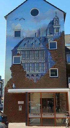 Trompe l'oeil mural in Vlissingen, the Netherlands, by Stefan Thalen aka Super A #urban #art #streetart