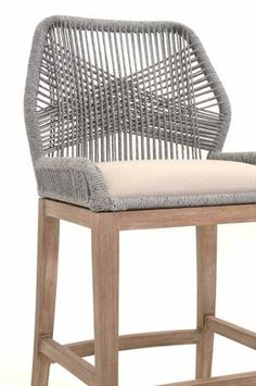 Candelabra Home Loom Bar and Counter Stool - Platinum – Meadow Blu Counter Stools With Backs, Island Stools, Swivel Bar Stools, Aluminum Bar Stools, White Wicker, Grey Fabric, Home Decor Styles, Candelabra, Chairs