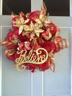 Christmas Holiday Believe WREATH with Gold Berries and Poinsettias - pinned by pin4etsy.com