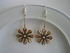 Pink rose gold toned daisy flower earrings  by LeeliaDesigns, $3.00