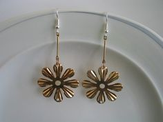 Pink rose gold toned daisy flower earrings - clearance earrings - flower earrings, daisy earrings, rose gold earrings, pink daisy flower