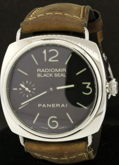 Panerai Radiomir Black Seal PAM 183 45mm SS skeleton back men's watch w/ B & P