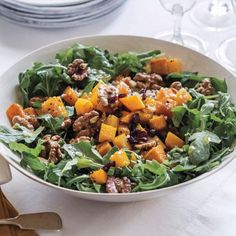 Ina Garten's Favorite Thanksgiving Recipes - Roasted Butternut Squash Salad with Warm Cider Vinaigrette from #InStyle