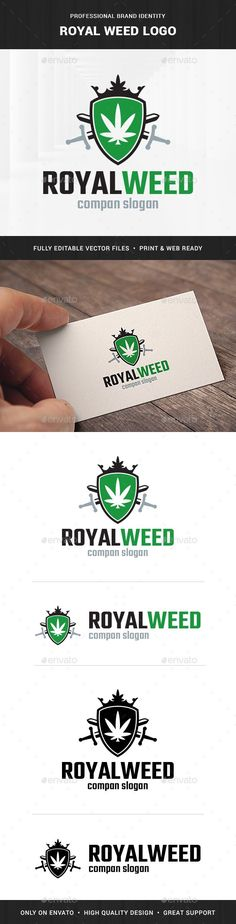 Royal Weed Logo Template — Vector EPS #green #smoke • Available here → https://graphicriver.net/item/royal-weed-logo-template/19225586?ref=pxcr