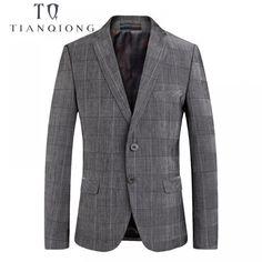 TIAN QIONG 2018 New Spring Fashion Blazer Mens Casual Jacket Grey Plaid Men Blazer Jacket Men Classic Mens Suit Jackets Coats. Men Blazer, Blazer Jacket, Jacket Men, Gray Jacket, Blazer Fashion, Blazers For Men, Suit Jackets, Dress For You, Mens Suits