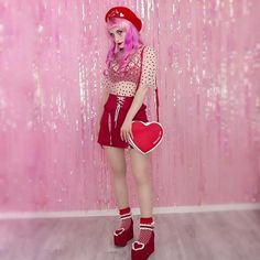 A cute lovecore outfit! Colourful Outfits, Aesthetic Vintage, Girls Dream, Aesthetic Clothes, Red And Pink, Style Me, Street Style, Fashion Outfits, How To Wear